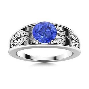 Natural 0.76 CTW Ceylon Sapphire Solitaire Ring 14K