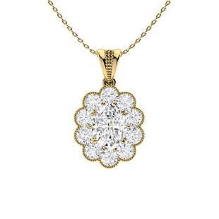 2.27 ctw Moissanite & Diamond Necklace 18K Yellow Gold