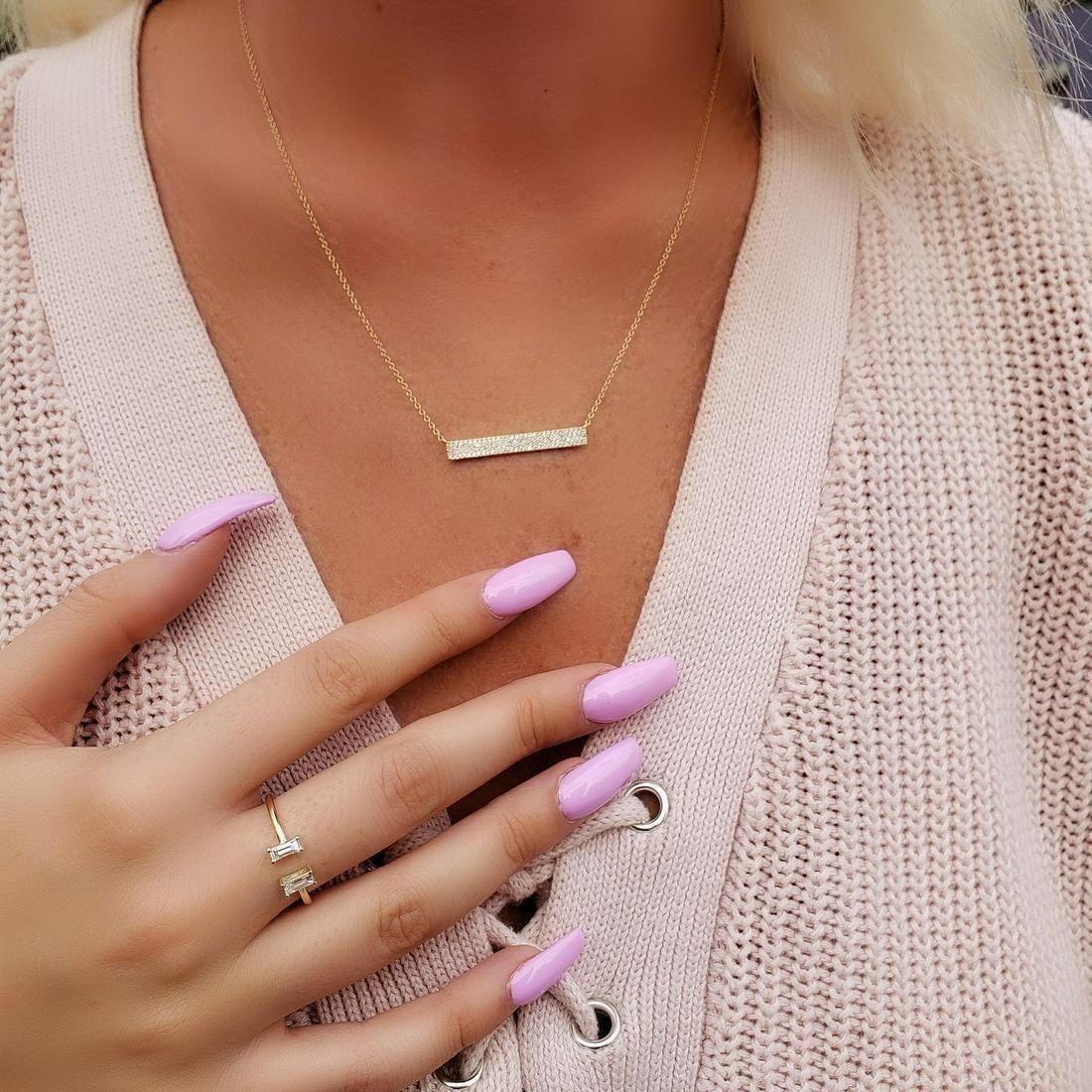 Natural 0.14 CTW Rectangle Diamond Bar Necklace 18KT