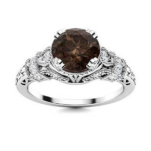 Natural 1.05 CTW Smoky Quartz & Diamond Engagement Ring