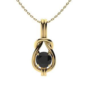 0.47 ctw Black Diamond Necklace 14K Yellow Gold