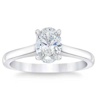 Natural 1.50 CT Diamond Solitaire Ring 14K White Gold