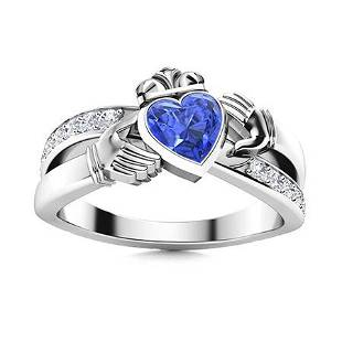 Natural 0.89 CTW Ceylon Sapphire & Diamond Engagement