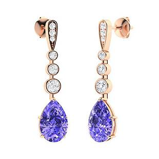 1.67 CTW Tanzanite & Diamond Drops Earrings 14K Rose