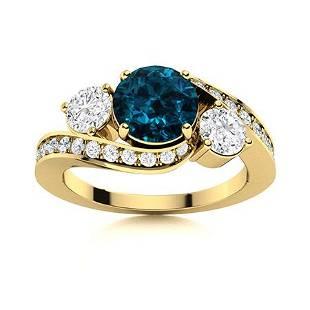 Natural 1.42 CTW Topaz & Diamond Engagement Ring 18K