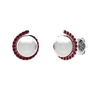 3.29 CTW Ruby & White Pearl Halo Earrings 18K White