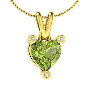 0.53 ctw Peridot & Diamond Necklace 14K Yellow Gold