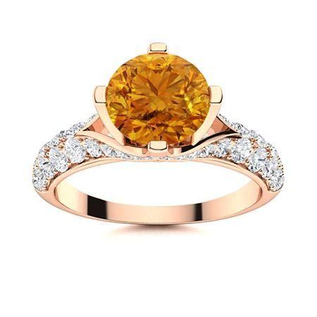 Natural 1.54 CTW Citrine & Diamond Engagement Ring 18K