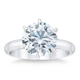Natural 4 CT Diamond Solitaire Ring 14K White Gold