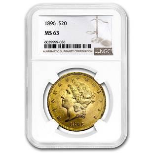 1896 $20 Liberty Gold Double Eagle MS-63 NGC