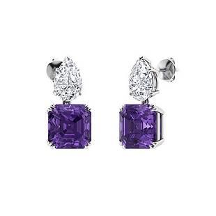 5.56 CTW Amethyst & Diamond Drops Earrings 14K White