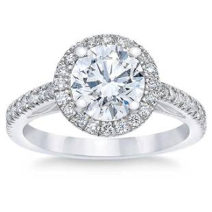 Natural 2.02 CT Diamond Bridal Ring 14K White Gold