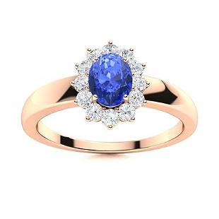 Natural 0.83 CTW Ceylon Sapphire & Diamond Engagement