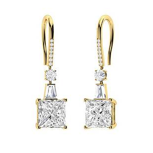 3.166 CTW White Topaz Drops Earrings 14K Yellow Gold