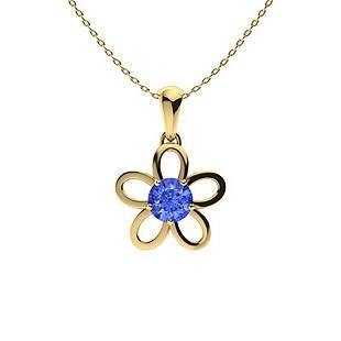 0.77 ctw Ceylon Sapphire Necklace 18K Yellow Gold