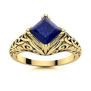 Natural 0.86 CTW Sapphire Solitaire Ring 14K Yellow