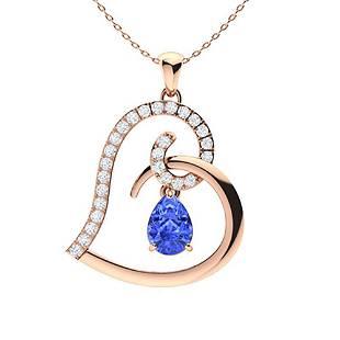 1.1 ctw Ceylon Sapphire & Diamond Necklace 14K Rose