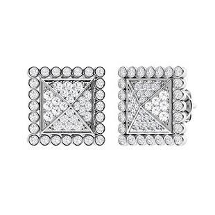 1.06 CTW Diamond Halo Earrings 18K White Gold
