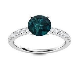 Natural 1.27 CTW Blue & White Diamond Engagement Ring
