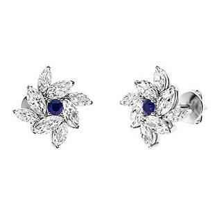 1.28 CTW Sapphire Halo Earrings 18K White Gold