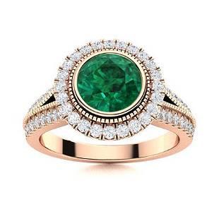 Natural 1.75 CTW Emerald & Diamond Engagement Ring 18K