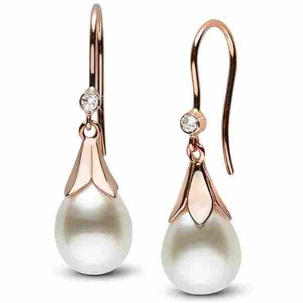 White South Sea Drop-Shape Pearl and Diamond Lily