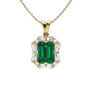 2.86 ctw Emerald & Diamond Necklace 18K Yellow Gold