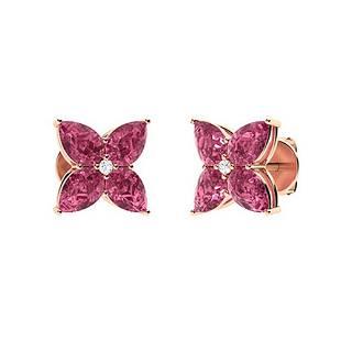 2.73 CTW Pink Tourmaline & Diamond Earrings 14K Rose