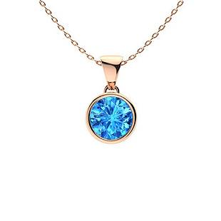0.72 ctw Sky blue Topaz Necklace 18K Rose Gold