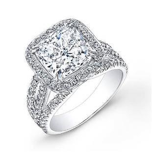 Natural 3.22 CTW Halo Cushion Cut Diamond Engagement