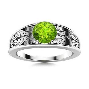 Natural 1.06 CTW Peridot Solitaire Ring 18K White Gold