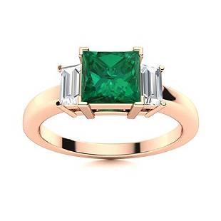 Natural 0.98 CTW Emerald & Diamond Engagement Ring 18K