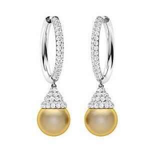 11.92 CTW Diamond & Golden Pearl Drops Earrings 18K