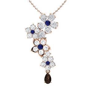 2.19 ctw Sapphire, Quartz & Diamond Necklace 14K Rose