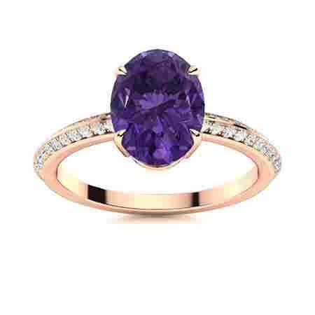 Natural 1.79 CTW Amethyst & Diamond Engagement Ring 14K