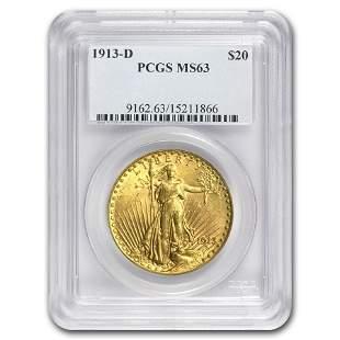 1913-D $20 Saint-Gaudens Gold Double Eagle MS-63 PCGS
