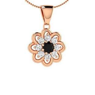0.29 ctw White & Black Diamond Necklace 14K Rose Gold
