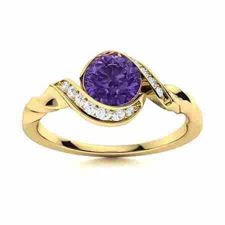 Natural 0.74 CTW Amethyst & Diamond Engagement Ring 14K
