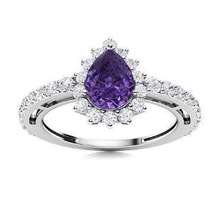Natural 1.31 CTW Amethyst & Diamond Engagement Ring 14K
