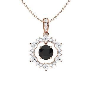 1.94 ctw White & Black Diamond Necklace 14K Rose Gold