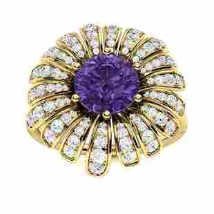 Natural 1.70 CTW Amethyst & Diamond Engagement Ring 14K