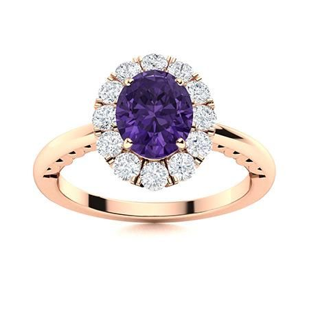 Natural 1.22 CTW Amethyst & Diamond Engagement Ring 14K