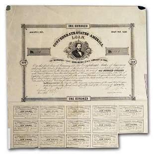 1861 $100 CSA Bond 8%/ 10 yr Judah Benjamin/Tyler