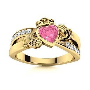Natural 0.92 CTW Tourmaline & Diamond Engagement Ring