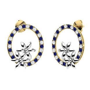 1.52 CTW Sapphire & Diamond Halo Earrings 18K Yellow