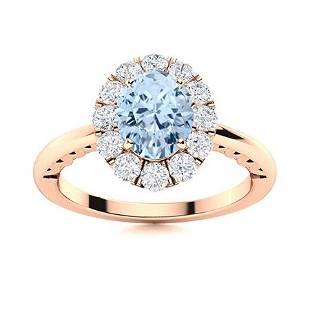 Natural 1.23 CTW Aquamarine & Diamond Engagement Ring
