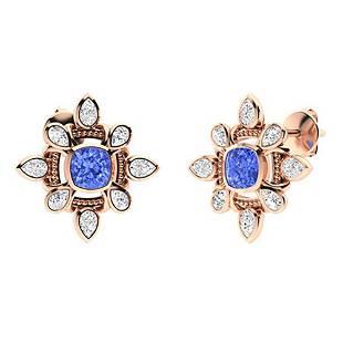 4.9 CTW Ceylon Sapphire & Diamond Halo Earrings 18K