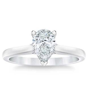 Natural 1 CT Diamond Solitaire Ring 14K White Gold