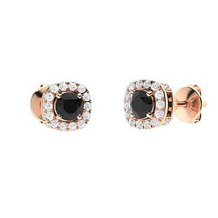 0.67 CTW Black Diamond Halo Earrings 18K Rose Gold