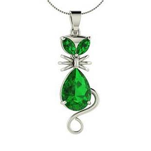 2.58 ctw Emerald Necklace 18K White Gold